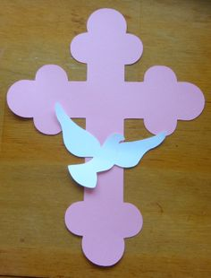Cross and Dove Die Cut for Baptism, Christening, Wedding Centerpiece or Decoration