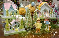 Vintage Easter Village Houses and bottle brush trees with eggs!