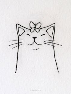 20 Easy Cat Drawing Ideas Easy Doodles Drawings, Cute Easy Drawings, Mini Drawings, Cute Little Drawings, Cute Animal Drawings, Art Drawings, Easy Drawing Designs, Easy Doodle Art, Simple Cat Drawing