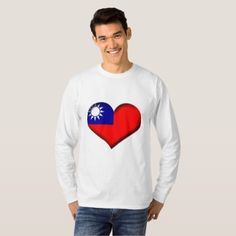 Taiwan (Chinese Taipei) Heart Flag T-Shirt - heart gifts love hearts special diy
