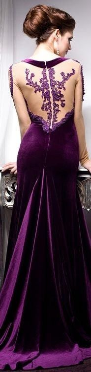 Purple velvet with sheer back and lace overlays - dramatic gowns - Rochii de seara - COLECTIA Velvet Angels VOLVERE Purple Love, Shades Of Purple, Purple Dress, Deep Purple, Beauty And Fashion, Purple Fashion, Beautiful Gowns, Beautiful Outfits, Gorgeous Dress