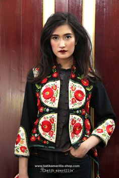 Batik Amarillis's Arcana embroidery jacket  ..Stand out in the crowd with this unique and stunning jacket!this contemporary & yet vintage style is accented with exquisite full stumblework Hungarian embroidery style to create 3 D effect also raw tenun gedog Tuban to complete the whole extravangant work of art!.