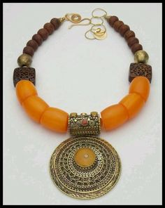 Tribal amber necklace with antiqued pendant, pendant necklace, tribal necklace, Tibetan necklace, statement necklace