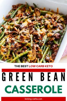 Green Bean Casserole without the carbs? Count me in! This Keto Green Bean Casserole is every bit as good as the original.  will keep you coming back for more. #kickingcarbs # #easyrecipes #ketodinnerrecipes #ketoholidayrecipes Veg Dishes, Healthy Dishes, Vegetable Dishes, Healthy Eating, Side Recipes, Keto Recipes, Vegetarian Recipes, Healthy Holiday Recipes, Real Food Recipes