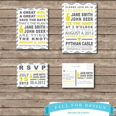 Wedding Invitation Set Chevron Yellow & Gray by FallForDesign, $20.00