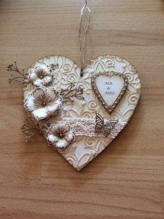 MDF heart done using Dreamees stamps