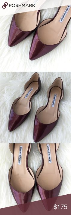 """Manolo Blahnik Burgundy Soussa d'Orsay Flat Sz 7.5 Beautiful Manolo Blahnik Burgundy Soussa d'Orsay flats.   Pre-loved; Well taken care of.   Minimal wear, minimal scuffing if any.  Minimal wear on interior sole.  If you have any questions about the photos, feel free to ask.   I tried my best to show any wear on the shoes.    Size: US 7.5  