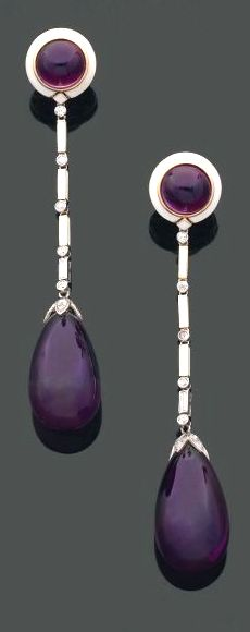 CARTIER - A rare pair of Art Deco platinum, gold, enamel, amethyst and diamond earrings, circa Length Cartier Jewelry, Antique Jewelry, Vintage Jewelry, Cartier Rings, Vintage Earrings, Art Deco Jewelry, Bling Jewelry, Jewelry Design, Jar Jewelry