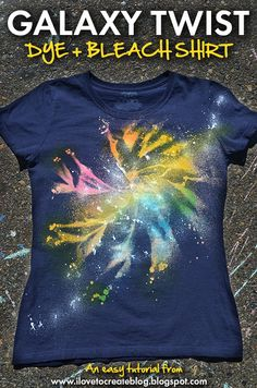 Galaxy Twist Dye + Bleach Shirt using Tulip One-Step Spray Dye and Tulip Fabric Spray Paint