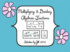 These problem cards will provide lots of practice!  Here are 48 problems to use to practice multiplying and dividing algebraic fractions with factoring. Simple activity suggestions are included. This set of questions is very versatile and good for use in an Algebra I or Algebra II course. Questions can be sorted to make an easier set or a more challenging one. CCSS A-APR