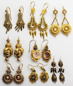 Collection of Etruscan Revival earrings