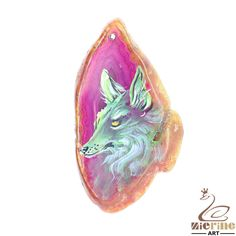 Pendant Hand Painted wolf Natural Gemstone bag Accessory ZL803358  #ZL #Pendant