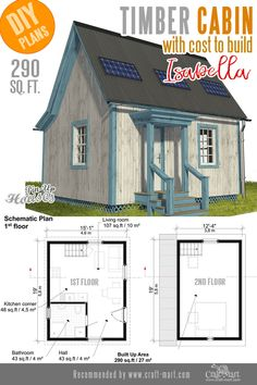With its truly tiny ground floor plan Isabella provides plenty of room upstairs. The sleeping floor is pretty spacious. With its truly tiny ground floor plan Isabella provides plenty of room upstairs. The sleeping floor is pretty spacious. Small Cabin Plans, Small House Plans, Easy Wood Projects, Cool Woodworking Projects, Fine Woodworking, Project Ideas, Woodworking Furniture, Timber Cabin, Earthship Home