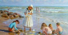 "Képtalálat a következőre: ""alexander averin painter"" Beach Kids, Beach Art, Realistic Paintings, Original Paintings, Seaside Art, Beach Scenes, Beautiful Paintings, Strand, Painting & Drawing"