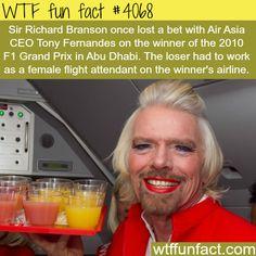 Sir Richard Branson as a female flight attendant - WTF fun facts