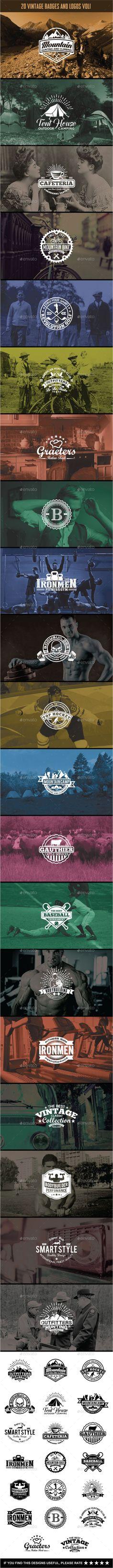 20 Vintage Badges and Logos EPS, AI #design Download: http://graphicriver.net/item/20-vintage-badges-and-logos-vol1/13230038?ref=ksioks