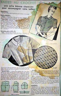 Vintage Crochet Patterns, Vintage Knitting, Knitting Patterns, Sewing Patterns, Pull Crochet, Mode Crochet, Knit Crochet, Tops Vintage, Vintage Diy