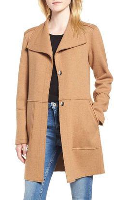 94518a776a56 Kenneth Cole New York Envelope Collar Wool Blend Knit Coat (Regular    Petite)