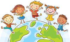 Crianças e o mundo - ilustração de arte vetorial