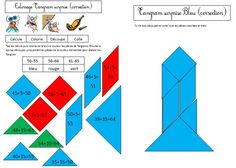 Coloriage tangram magique fusée Calcul CE1