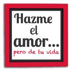 Cuadro con frase de amor y marco en color rojo