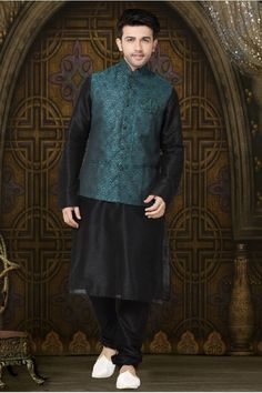 Black ready made kurta pyjama set with rama green jacket. Fabric : Art dupion silk and jacquard(jacket). Lehenga Choli, Anarkali, Black Waistcoat, Beatles, Nehru Jackets, Indian Fashion Designers, Patiala Salwar, Sherwani, Jacket Pattern
