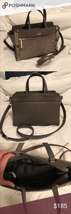 "Kate Spade Leather Snakeskin Crossbody Bag Kate Spade ""Harlan"" Crossbody Snakeskin Bag, like new, 9/10 condition, only flaw is noted in one of the pictures, just normal wear after a few uses, no other damages to the purse! Plenty of room and rare to find in this condition! NO TRADES! NO LOW BALLERS, you will be ignored. kate spade Bags Crossbody Bags"