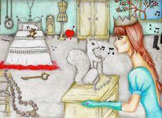 #fairytale #illustration #girl #squirrel #pastel #vintage #romantic #fashionblogger #fashion blog, amanda marzolini, the fashionamy, outfit blogger, #fashiondesigner , blogger parma