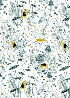 Mushroom Hunters, pattern, cute, drawing, painting, design, illustration, colour, cute