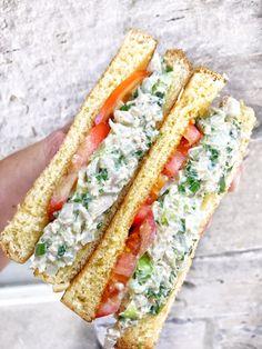 Tuna Salad Sandwich - The Tipsy Housewife Best Tuna Sandwich, Tuna Sandwich Recipes, Best Tuna Salad, Salad Sandwich, Fish Recipes, Deli Sandwiches, How To Make Tuna, Sauce Chili, Bread Dumplings