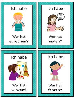 German game. German version of the I have ... Who has ...? game. This German game can be played to practice German verbs. The game has 43 cards with a colorful frame and 43 cards with a simple black frame to save you ink. There are 4 cards per page.