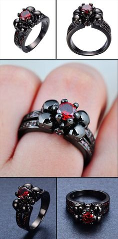 Halloween Skull Ring Anel for Women/Men Ruby Sapphire Jewelry Wedding Rings * gothic wedding, gothic jewelry, gothic jewelry rings, gothic accessories, gothic accessories jewellery, gothic jewelry