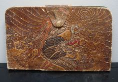 vintage tooled leather dragon scene clutch by StaceyScottVintage