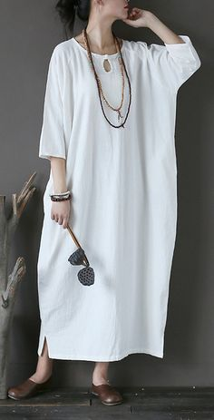 274eff034c Simple white linen clothes plus size Sleeve Love Batwing Sleeve o neck  asymmetric Dresses. Omychic Linen Dress
