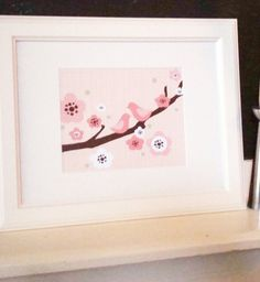 8x10+Two+Birds+on+a+Cherry+Blossom+Branch++Pink+by+ModGenesDesigns,+$15.95