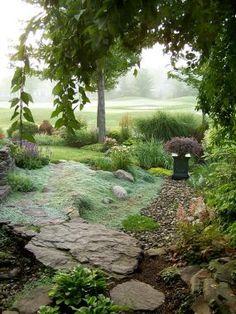 Wooly thyme like tumbling water. From Fine Gardening. Wooly Thyme, Landscape Design, Garden Design, The Secret Garden, Fine Gardening, Exterior, Parcs, Garden Spaces, Shade Garden
