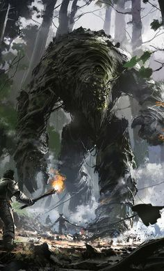 Ignacio Bazan Lazcano Concept Art and Illustration This looks like a gigantic earth elemental to me! Fantasy Magic, Medieval Fantasy, Fantasy World, Fantasy Artwork, Fantasy Concept Art, Fantasy Creatures, Mythical Creatures, Fantasy Beasts, Monster Art