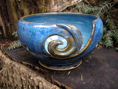 Yarn Bowl glazed in Morning Glory Blue, style as seen at Vougue Knitting Live in NY., handmade pottery bowl