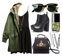 """""""in combat"""" by newgold ❤ liked on Polyvore featuring Dorothy Perkins, AX Paris, Yves Salomon, Ray-Ban, Chanel, Vivienne Westwood, BOBBY, peridot, anorak and green"""