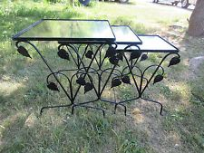vintage woodard 3 pc wrought iron outdoor patio stacking nest lamp end tables
