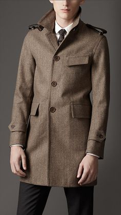Burberry London Leather Detail Herringbone Car Coat -- love the colour and the details