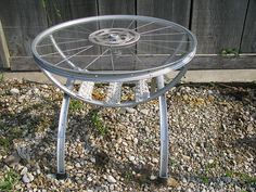 coffee table from bike rims with mag. rack by gilbertvh