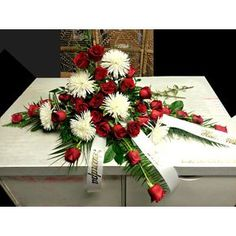 Loving Memories Casket Spray in red and white Sympathy and Funeral Flowers Three Hills AB Florist - Shirley's Flowers and Friend's Casket Flowers, Funeral Flowers, Table Flowers, World Map Tattoos, Spider Mums, Casket Sprays, Summer Flowers, Handmade Flowers, Special Gifts