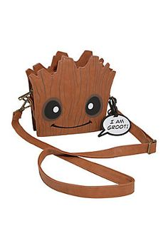 ADORABLE...without any splinters! // Loungefly Guardians Of The Galaxy I Am Groot Baby Groot Face Crossbody Bag