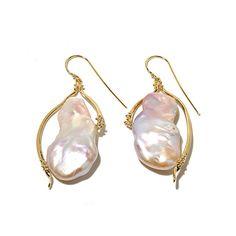 Blush Cultured Freshwater Pearl Drop Earrings in 18k Yellow Gold