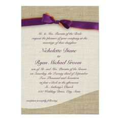 Enjoy these rustic ribbon and burlap orange and purple wedding invitations now for only $2.06, and find out how you could get ~~40%~~ off on bulk orders of rustic purple wedding invitations. rusticweddinginvitations.net