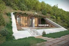Underground Homes – Build an Amazing Earth-Sheltered Home Great underground home ideas, and details on what you need to build one! Efficient, practical and unique – check it out! House Built Into Hillside, Earth Sheltered Homes, Earthship Home, Underground Homes, Underground Living, Underground Building, Underground Shelter, Earth Homes, House On A Hill