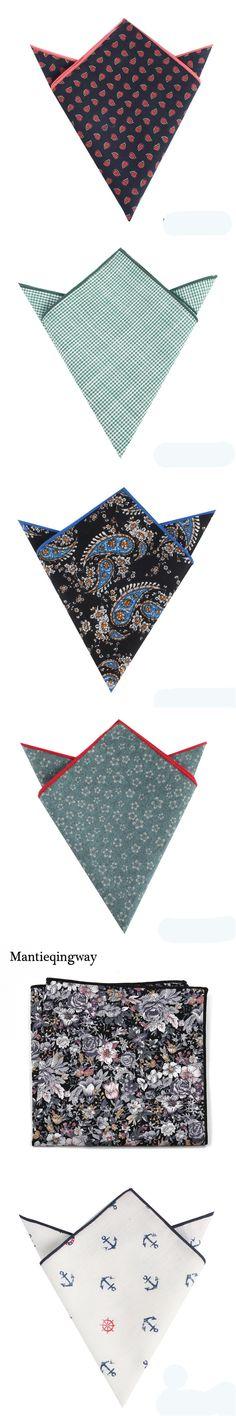 Mantieqingway Mens Pocket Square Handkerchiefs for Wedding Fashion Casual Floral Hankies Vintage Cotton Paisley Printed Hanky
