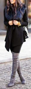 #winter #fashion / all black + gray boots + faux fur