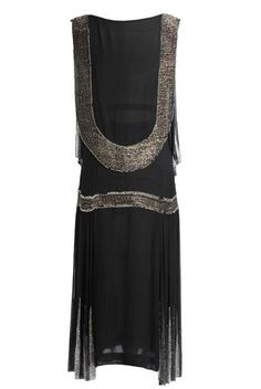 1926 | Art Deco Black Silk Chiffon Embellished with Gold Metalic Beads Parisian Flapper Dress